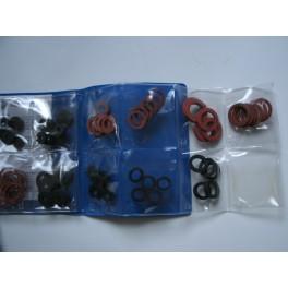 Mapje met 75 pakkingen- rubber/fiberringen allerlei maten art 3119109