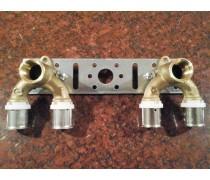 (D7) Comisa speciale doorstroom-muurplaatbeugel 1/2 x  2x 16mm persaansluiting