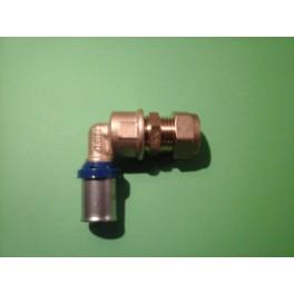(B9) Handyman Extra Profit Overgangskoppeling Kniemodel  15 mm koper x 16 mm kunststof meerlagenbuis