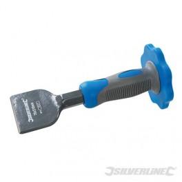 Electriciens/loodgietersbeitel breed met beschermgrip voor handen geschikt voor het uithakken van gefraisde sleuven art 711277