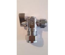 mini-knelkoppeling  knie- kogelafsluiter met hendeltje italiaans design 15 mm x 10 mm/3/8 Haaks model art.nr: 41.23.315