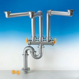 (L) LIRA Spazio 3.2  Horeca-Sifonset vloer 50 mm voor dubbele spoelbak  in uw keuken metallic kleur art: 9.6927.10