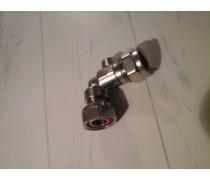 Knelkogelkraankoppeling incl fiberrring Haaks 15mm knel x 1/2 draaibare moer 1/2 art 536135