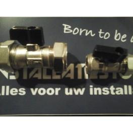 Koopje!! kogelkraanafsluiter voor leiding koper/c.v. buis  2x15 mm knel  art 523555