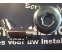 Nieuw !! Aansluitbocht chroom 1/2 duims x 3/8 45 gr met chrome rozet voor aansluiten van o.a. wastafelmengkraan art F71CR003