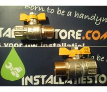 Gaskogelkraan Extra zware kwaliteit  vlindermodelalsluiter  3/4 binnendraad x 3/4 buitendraad art 4132642