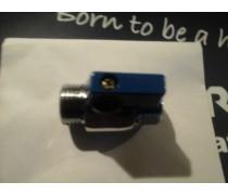Kleine kogelstopkraan 2 x 1/2 buitendraad  blauw