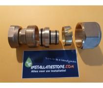 (A18) Grote JORA adapter-knelkoppelingovergangset 32mm meerlagenbuis naar 28mm ( Comisa ) knelkoppeling