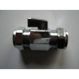 mini-knelkoppeling met kogelafsluiter italiaans design met bedieningshendeltje 22 mm x 22 mm art.nr: 41.23.235