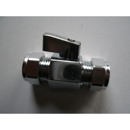 mini-knelkoppeling met kogelafsluiter italiaans design met bedieningshendeltje  15 mm  x 15 mm art.nr: 41.23.220